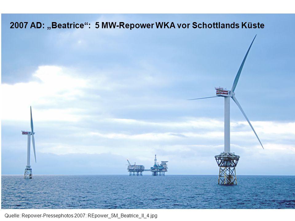 """2007 AD: """"Beatrice : 5 MW-Repower WKA vor Schottlands Küste"""