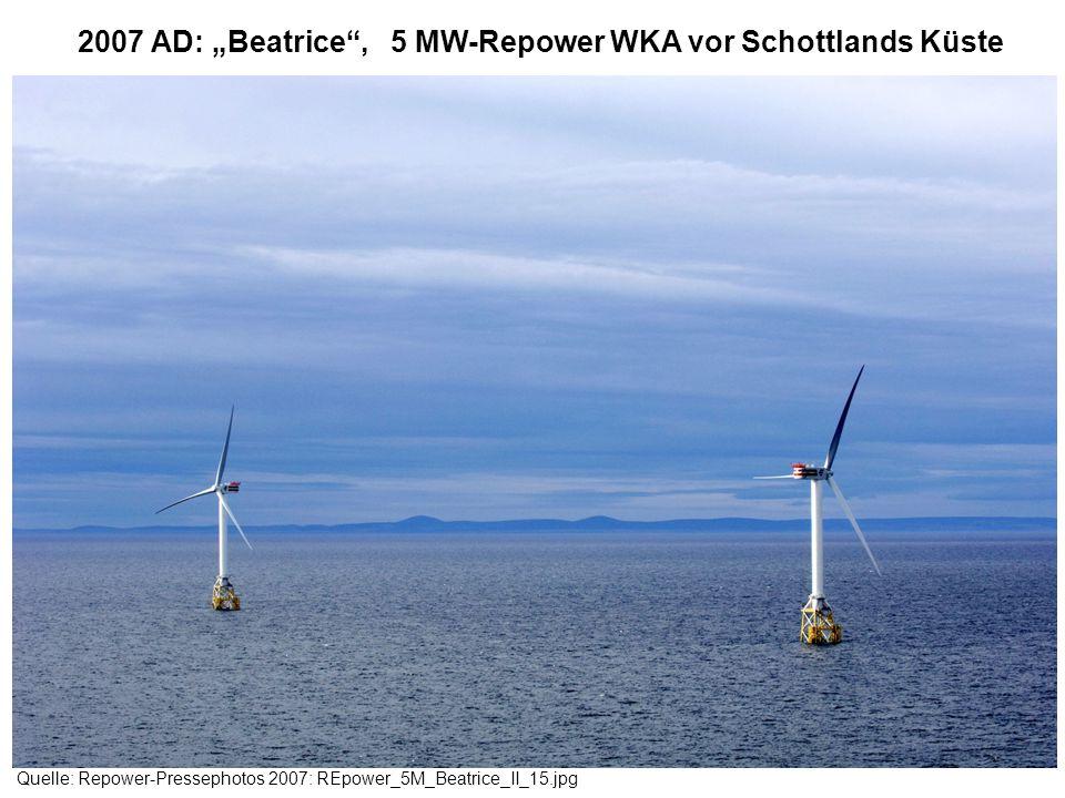 """2007 AD: """"Beatrice , 5 MW-Repower WKA vor Schottlands Küste"""