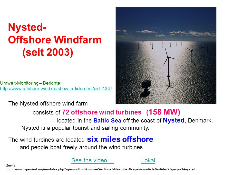 Nysted- Offshore Windfarm (seit 2003) The Nysted offshore wind farm
