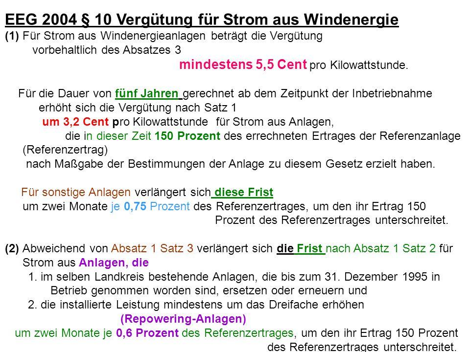 EEG 2004 § 10 Vergütung für Strom aus Windenergie
