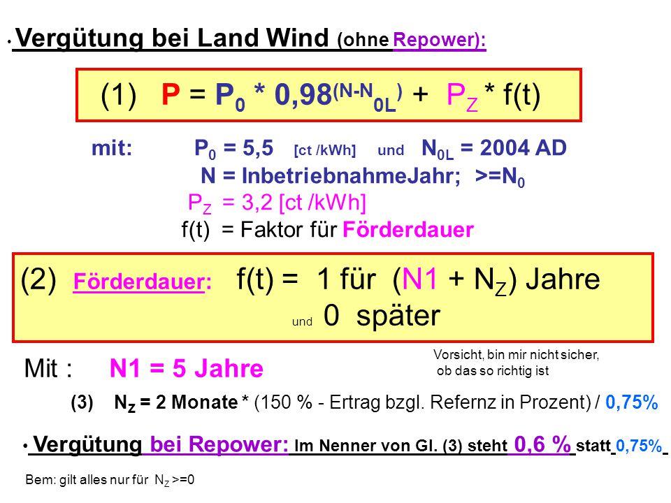 (1) P = P0 * 0,98(N-N0L) + PZ * f(t)