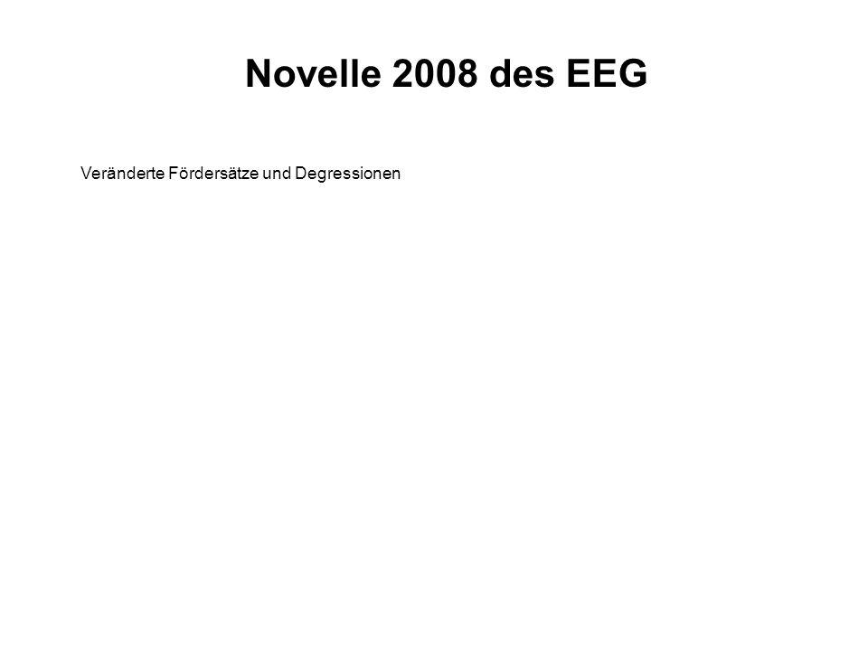 Novelle 2008 des EEG Veränderte Fördersätze und Degressionen