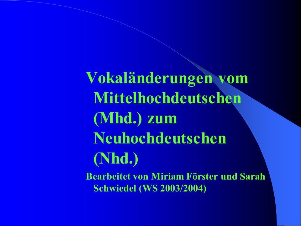 Vokaländerungen vom Mittelhochdeutschen (Mhd
