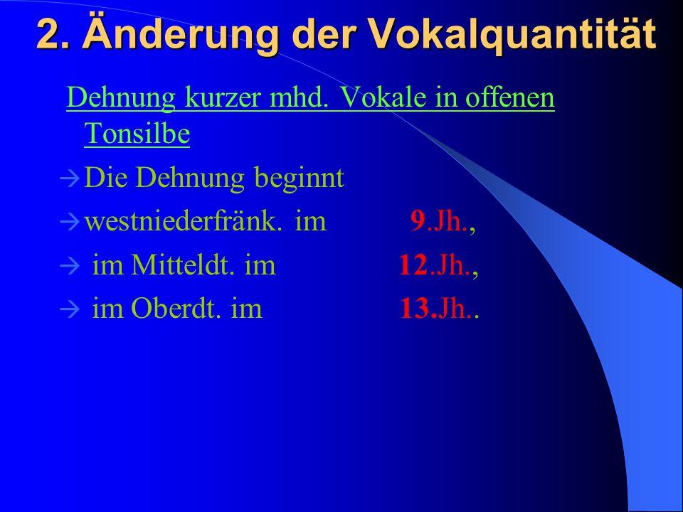 2. Änderung der Vokalquantität