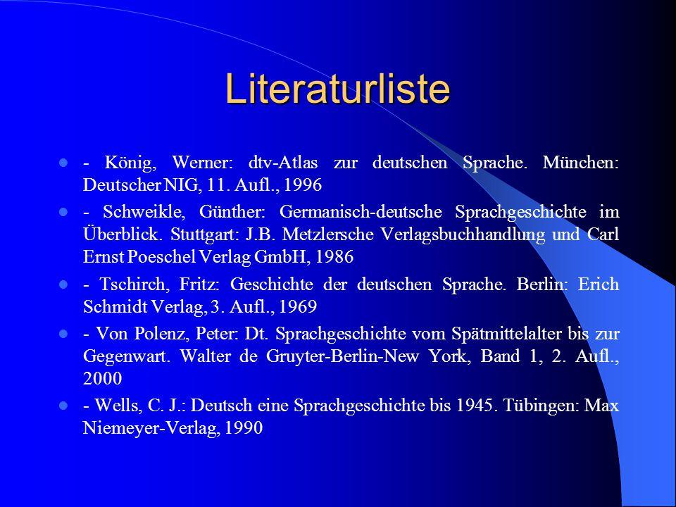 Literaturliste - König, Werner: dtv-Atlas zur deutschen Sprache. München: Deutscher NIG, 11. Aufl., 1996.