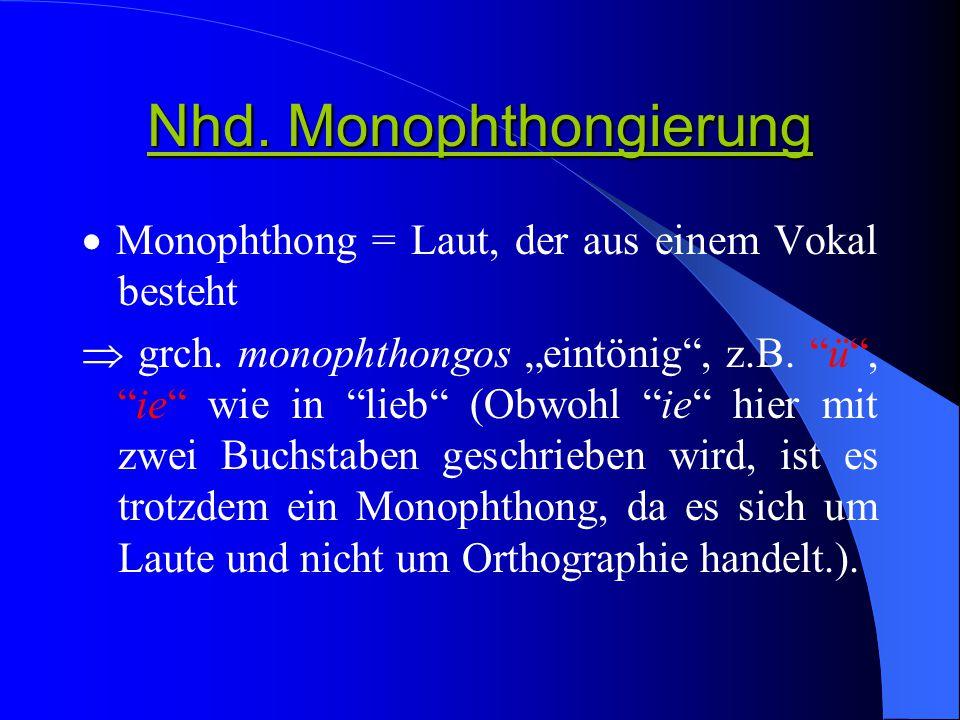 Nhd. Monophthongierung