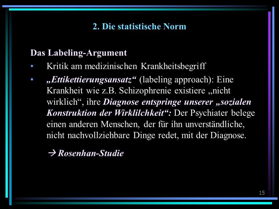 2. Die statistische Norm Das Labeling-Argument. Kritik am medizinischen Krankheitsbegriff.