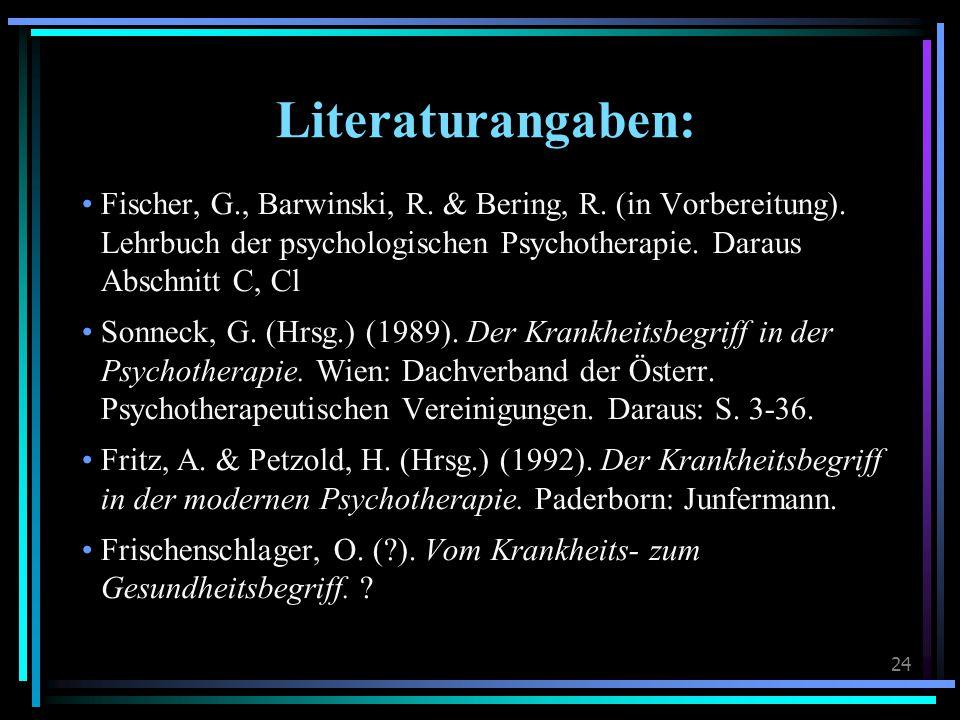 Literaturangaben: Fischer, G., Barwinski, R. & Bering, R. (in Vorbereitung). Lehrbuch der psychologischen Psychotherapie. Daraus.
