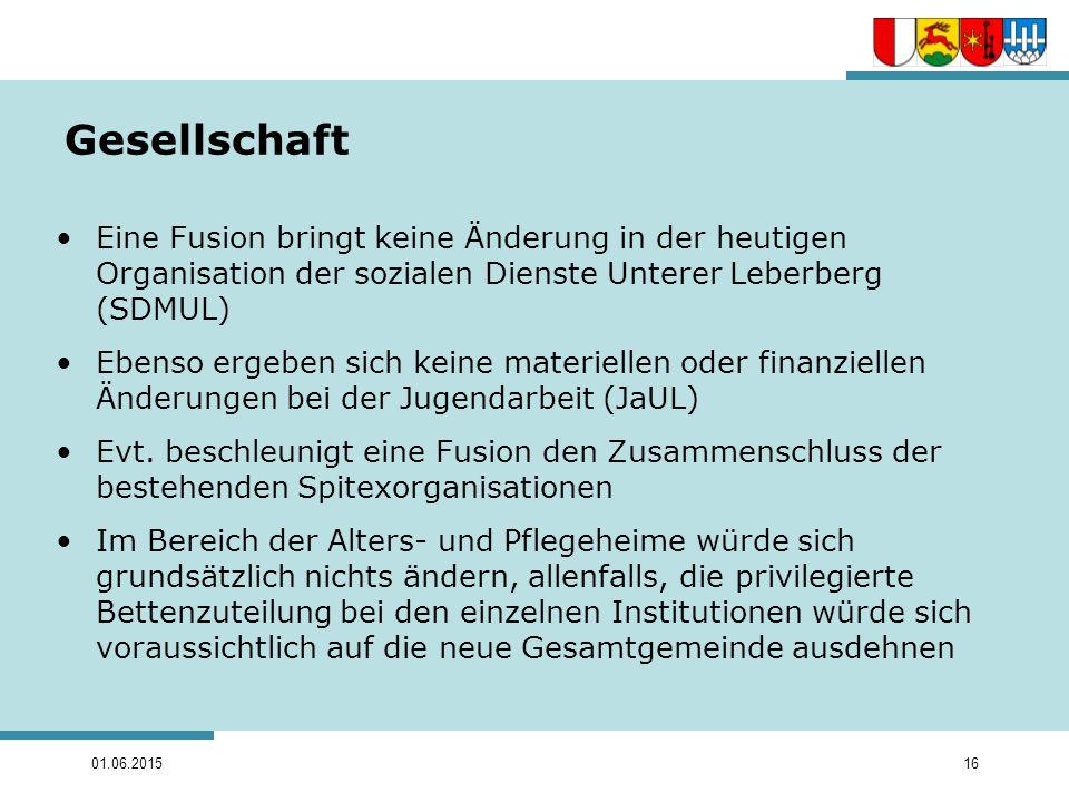 Gesellschaft Eine Fusion bringt keine Änderung in der heutigen Organisation der sozialen Dienste Unterer Leberberg (SDMUL)