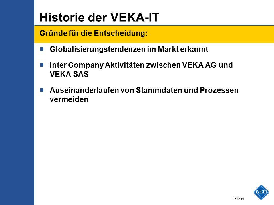 Historie der VEKA-IT Gründe für die Entscheidung: