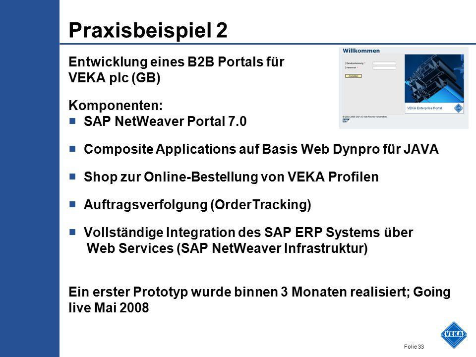 Praxisbeispiel 2 Entwicklung eines B2B Portals für VEKA plc (GB)