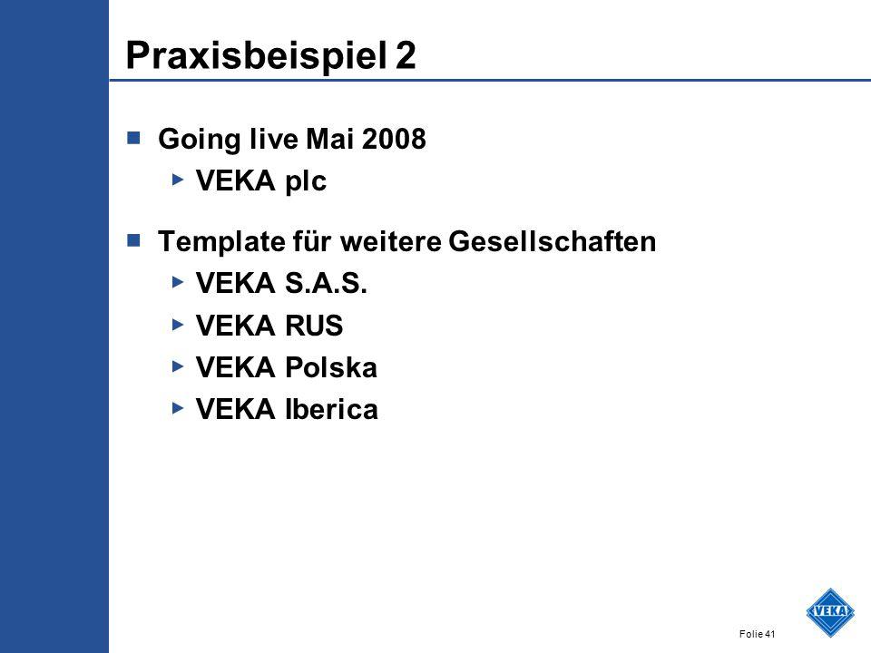 Praxisbeispiel 2 Going live Mai 2008 VEKA plc