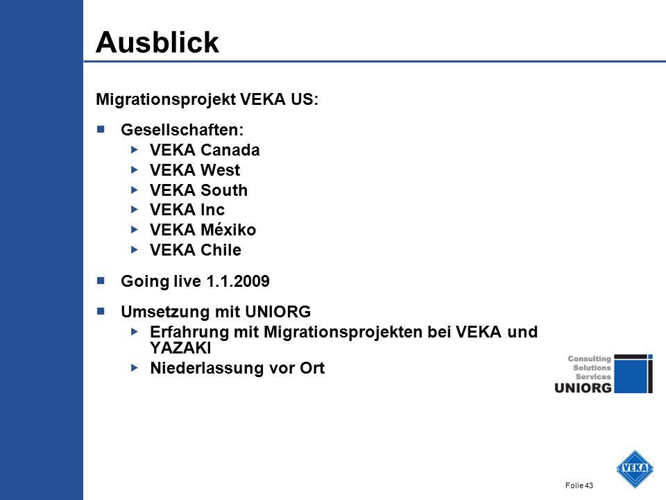 Ausblick Migrationsprojekt VEKA US: Gesellschaften: VEKA Canada