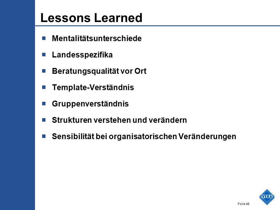 Lessons Learned Mentalitätsunterschiede Landesspezifika