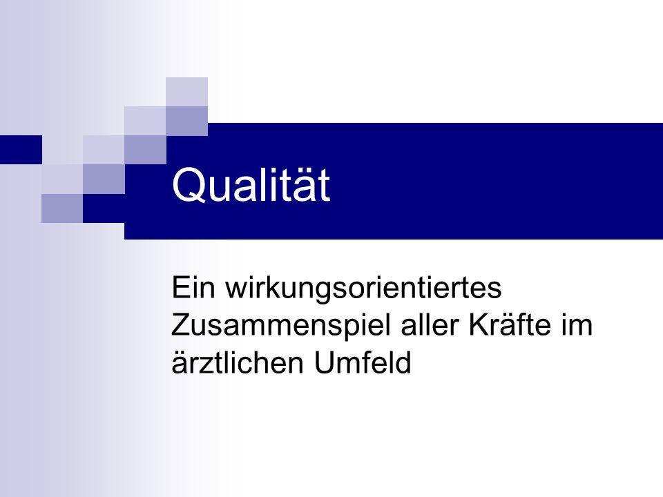 Qualität Ein wirkungsorientiertes Zusammenspiel aller Kräfte im ärztlichen Umfeld. Qualität. Heterogene Ansprüche an den Begriff Qualität.