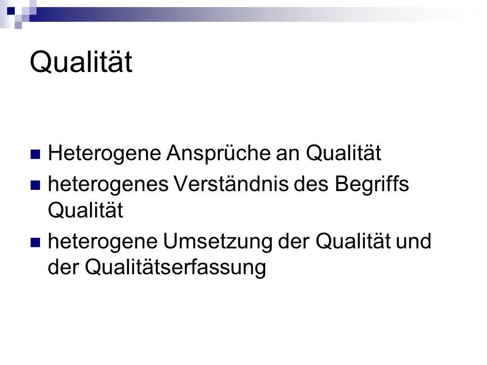 Qualität Heterogene Ansprüche an Qualität