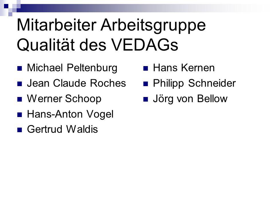 Mitarbeiter Arbeitsgruppe Qualität des VEDAGs