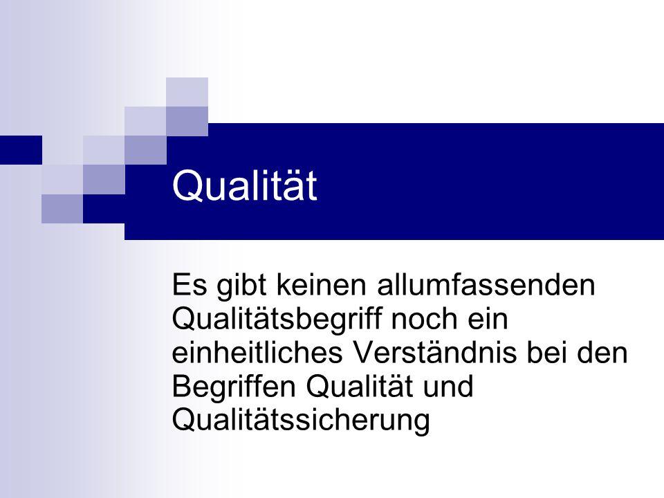 Qualität Es gibt keinen allumfassenden Qualitätsbegriff noch ein einheitliches Verständnis bei den Begriffen Qualität und Qualitätssicherung.