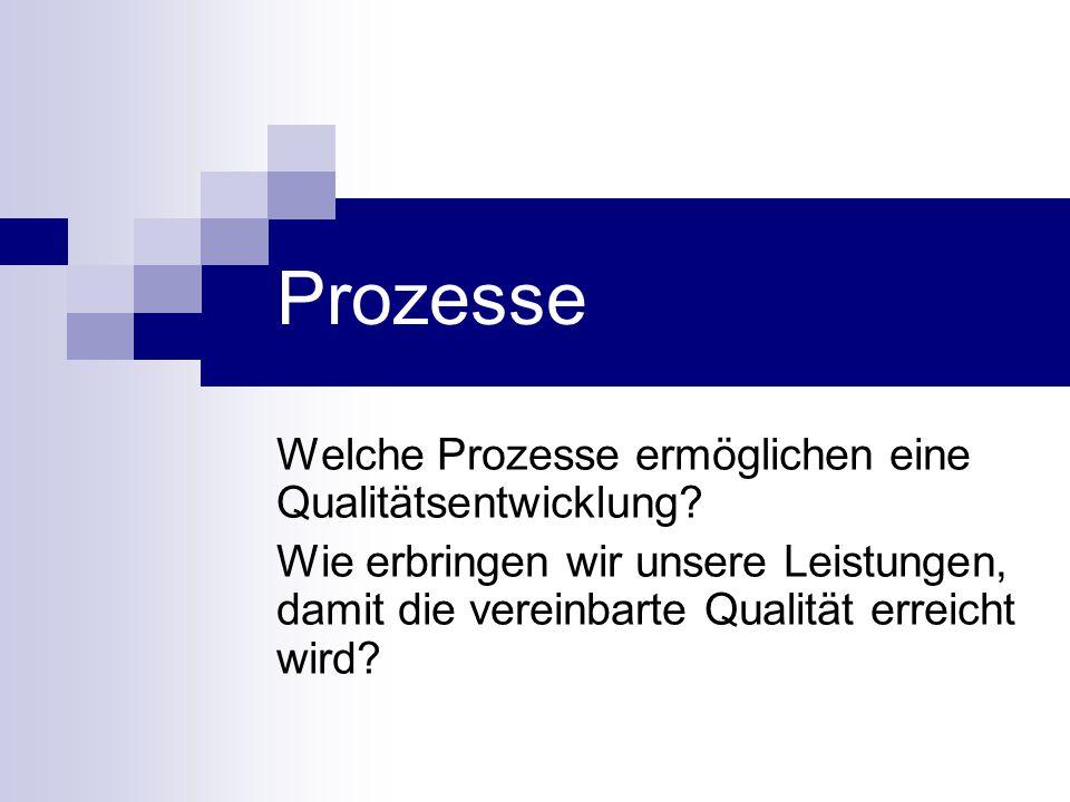 Prozesse Welche Prozesse ermöglichen eine Qualitätsentwicklung