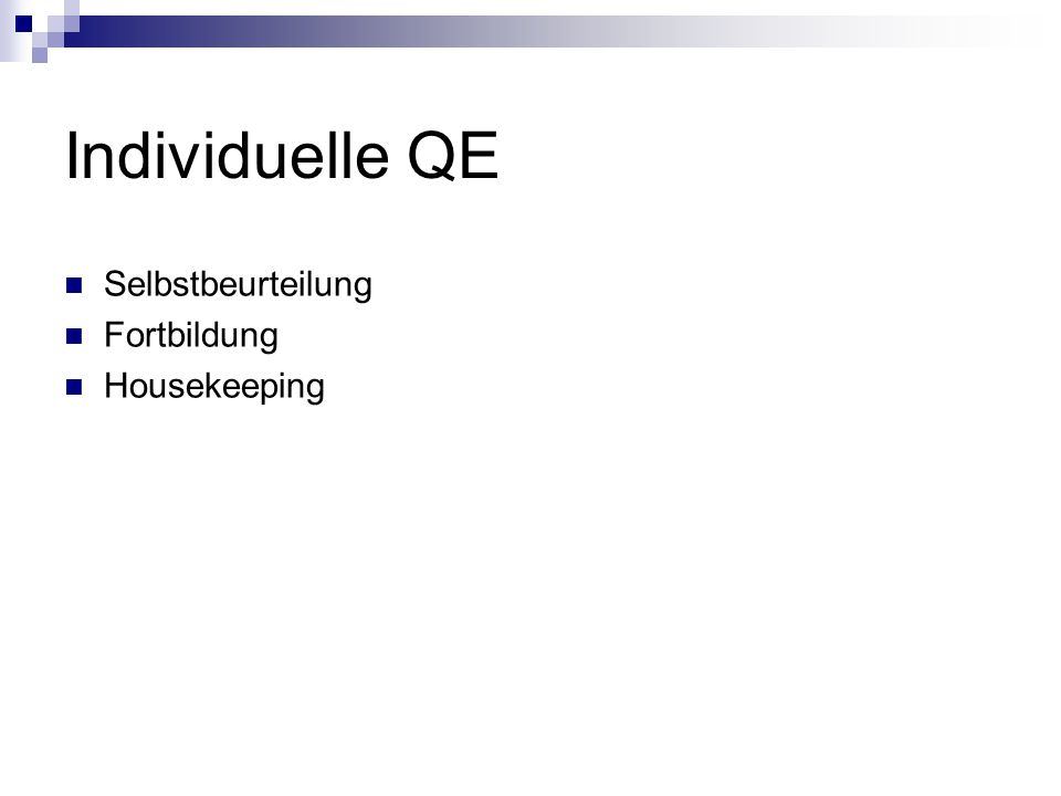 Individuelle QE Selbstbeurteilung Fortbildung Housekeeping