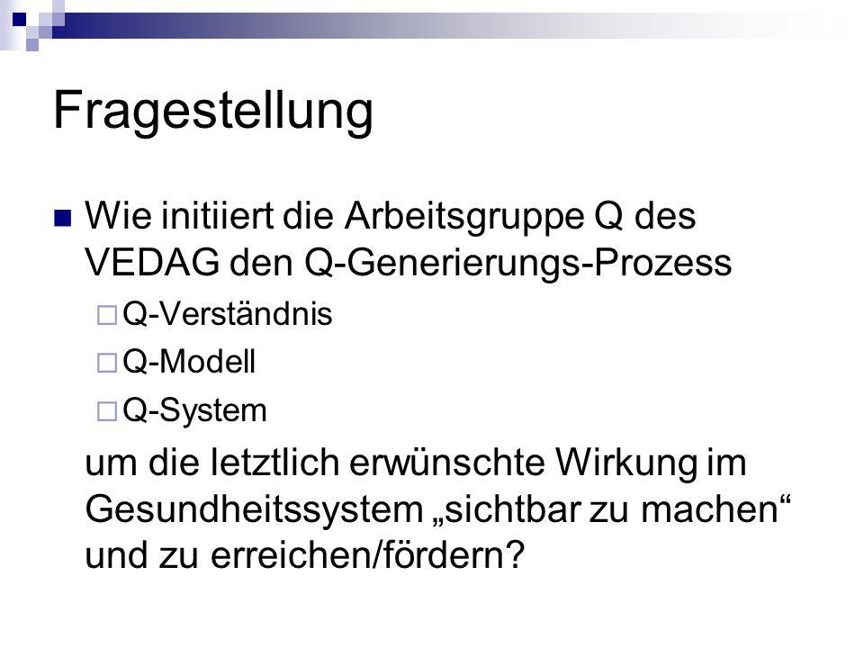 Fragestellung Wie initiiert die Arbeitsgruppe Q des VEDAG den Q-Generierungs-Prozess. Q-Verständnis.