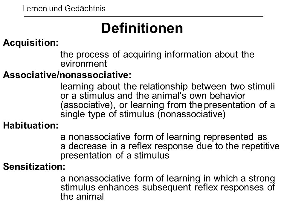 Definitionen Acquisition: Associative/nonassociative: