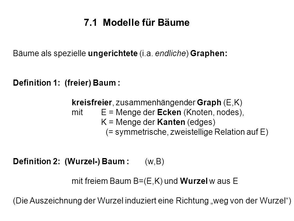 7.1 Modelle für Bäume Bäume als spezielle ungerichtete (i.a. endliche) Graphen: Definition 1: (freier) Baum :