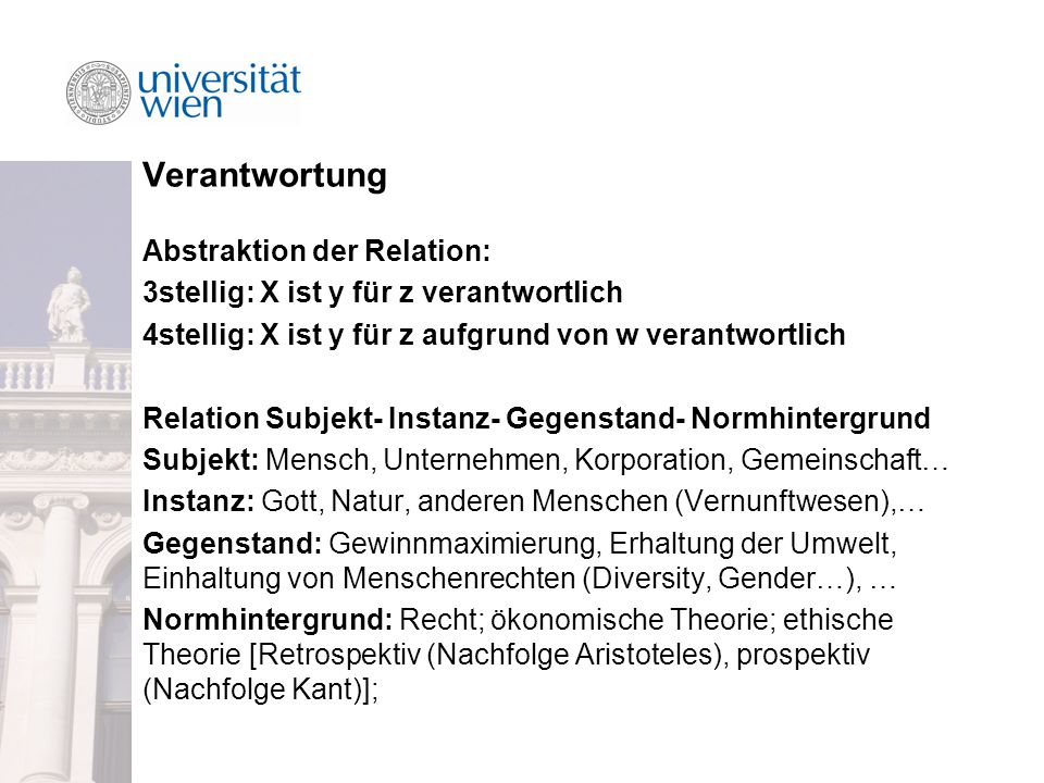 Verantwortung Abstraktion der Relation: