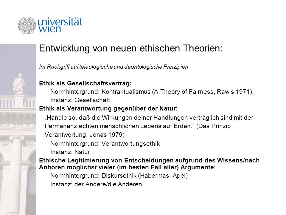 Entwicklung von neuen ethischen Theorien: