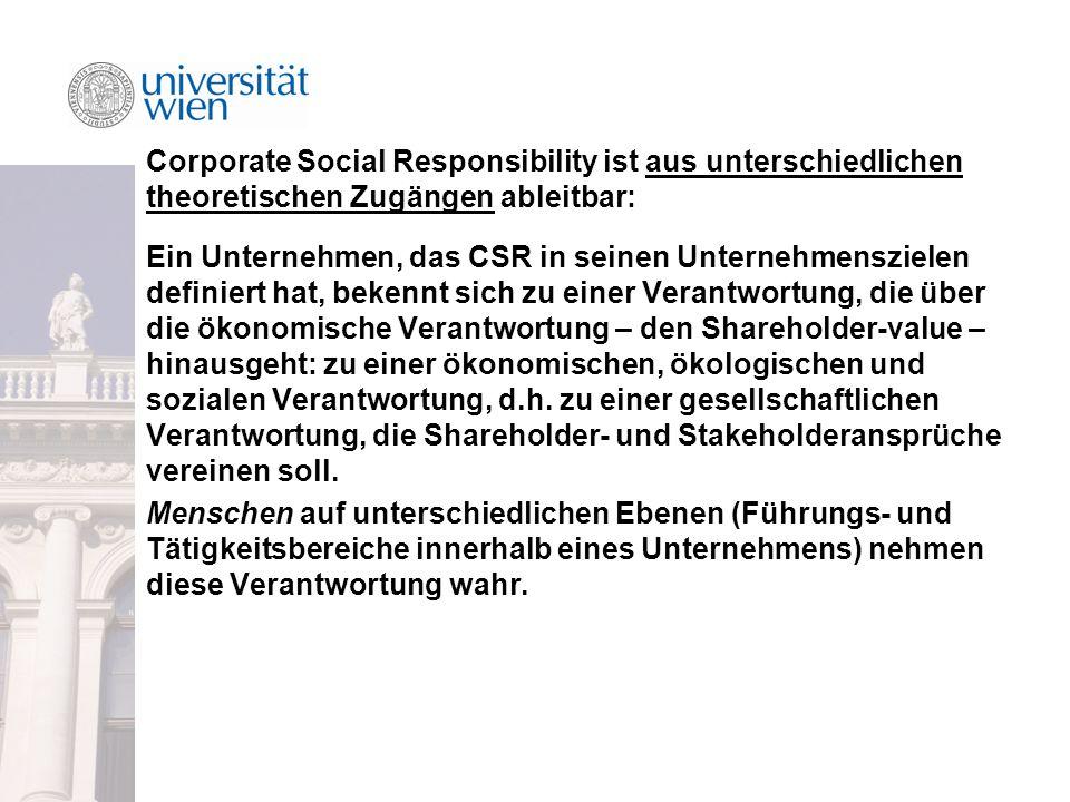Corporate Social Responsibility ist aus unterschiedlichen theoretischen Zugängen ableitbar: