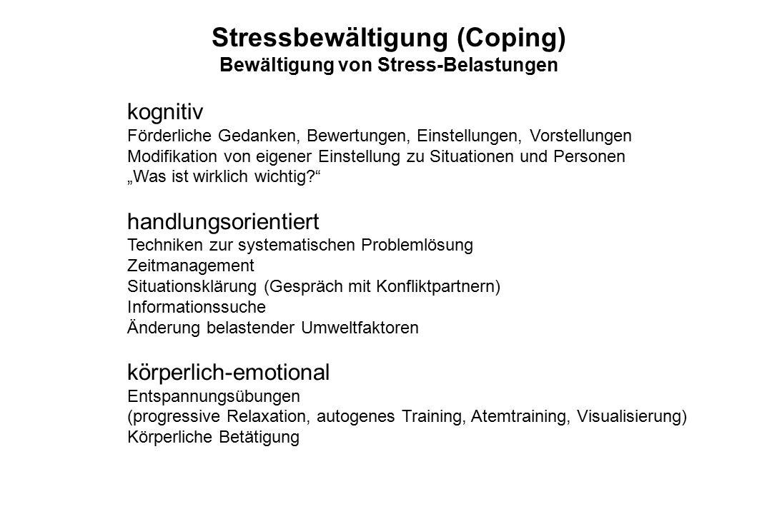 Stressbewältigung (Coping) Bewältigung von Stress-Belastungen