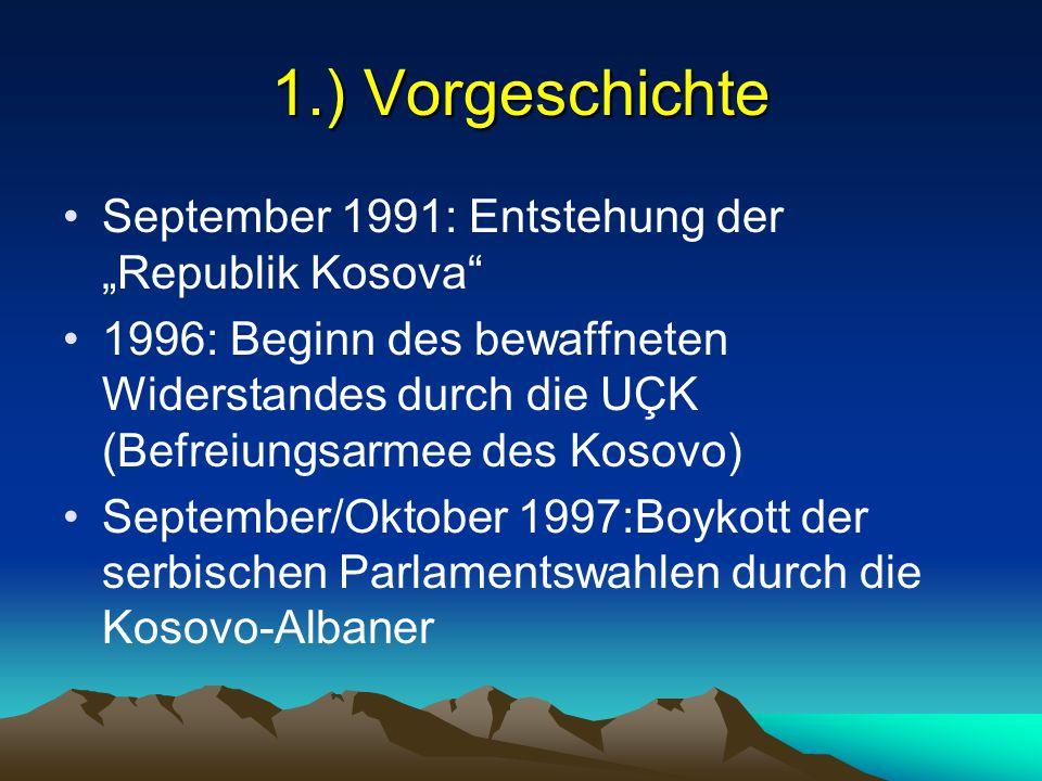 """1.) Vorgeschichte September 1991: Entstehung der """"Republik Kosova"""