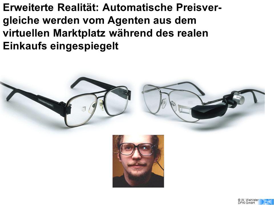 Erweiterte Realität: Automatische Preisver-gleiche werden vom Agenten aus dem virtuellen Marktplatz während des realen Einkaufs eingespiegelt