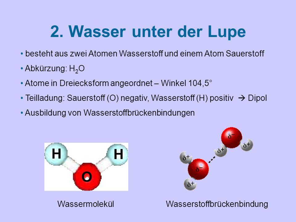 2. Wasser unter der Lupe besteht aus zwei Atomen Wasserstoff und einem Atom Sauerstoff. Abkürzung: H2O.