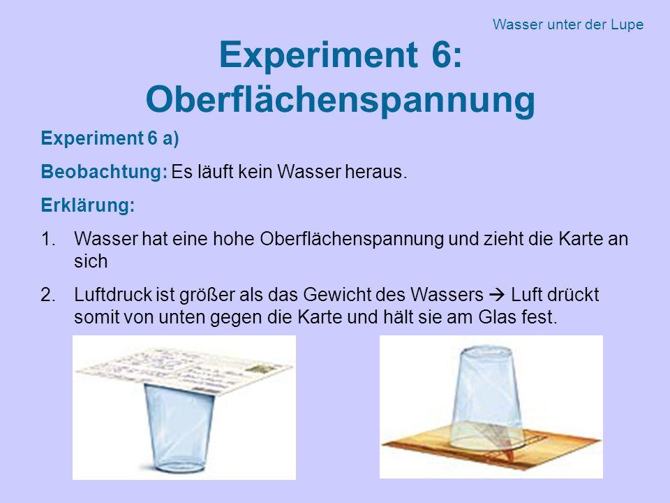 Experiment 6: Oberflächenspannung