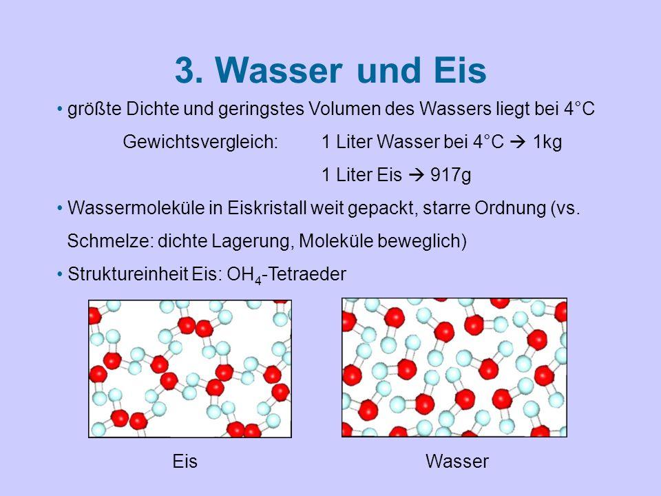 3. Wasser und Eis größte Dichte und geringstes Volumen des Wassers liegt bei 4°C. Gewichtsvergleich: 1 Liter Wasser bei 4°C  1kg.