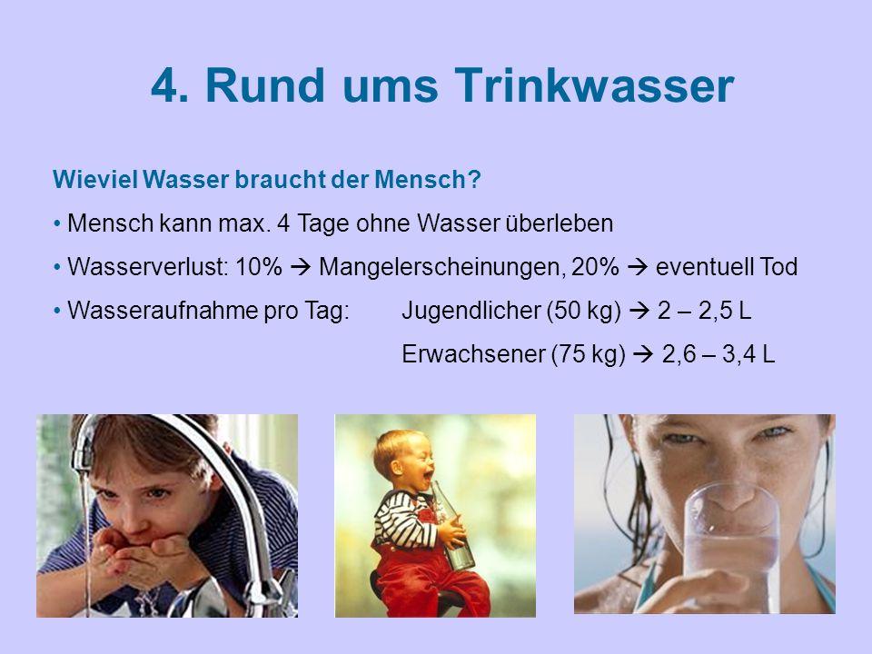4. Rund ums Trinkwasser Wieviel Wasser braucht der Mensch