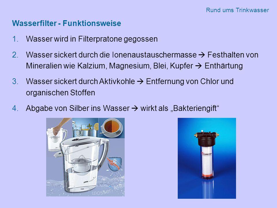 Wasserfilter - Funktionsweise Wasser wird in Filterpratone gegossen