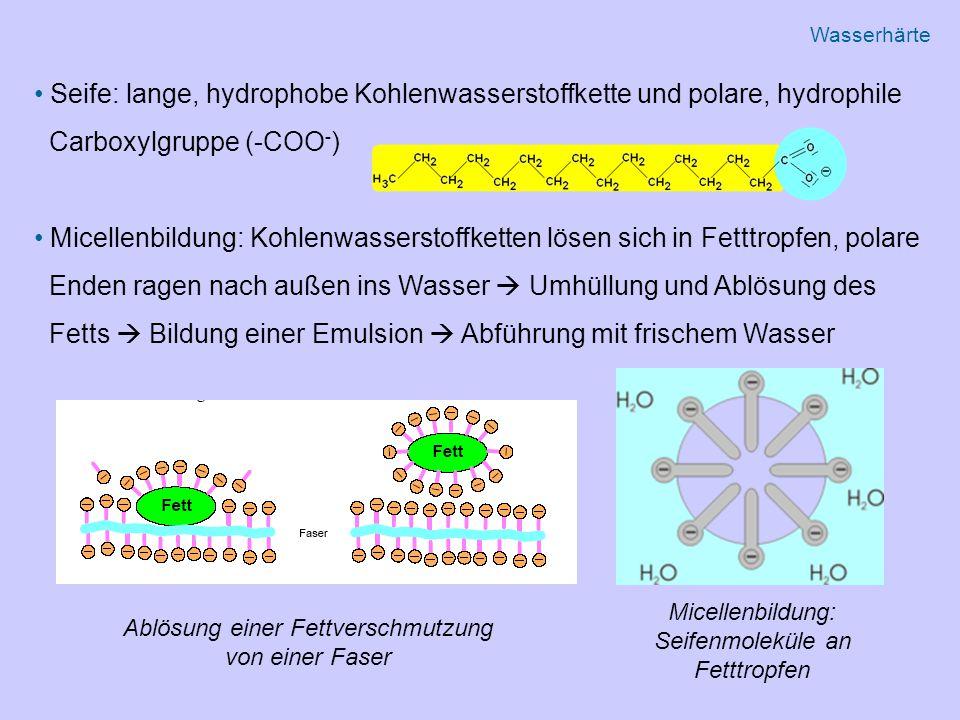 Seife: lange, hydrophobe Kohlenwasserstoffkette und polare, hydrophile