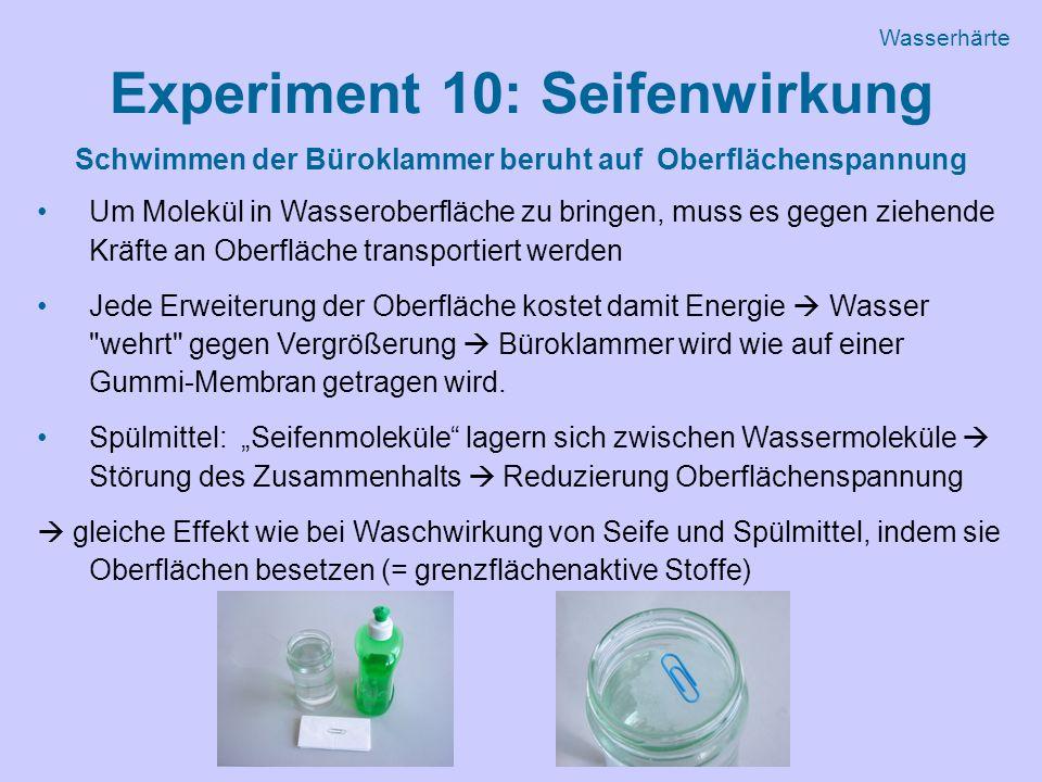 Experiment 10: Seifenwirkung