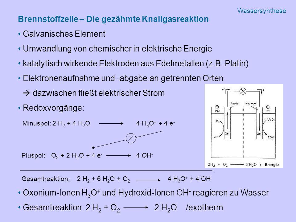 Brennstoffzelle – Die gezähmte Knallgasreaktion Galvanisches Element