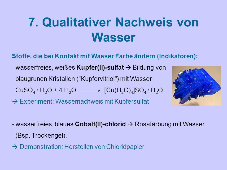 7. Qualitativer Nachweis von Wasser