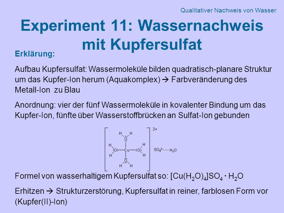Experiment 11: Wassernachweis mit Kupfersulfat