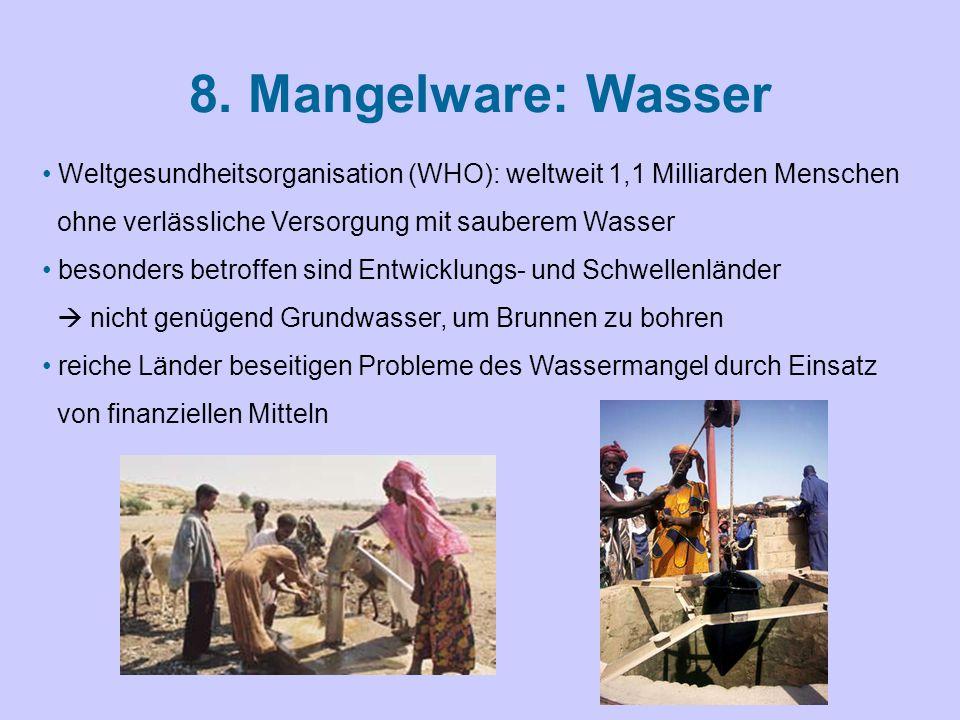 8. Mangelware: Wasser Weltgesundheitsorganisation (WHO): weltweit 1,1 Milliarden Menschen. ohne verlässliche Versorgung mit sauberem Wasser.
