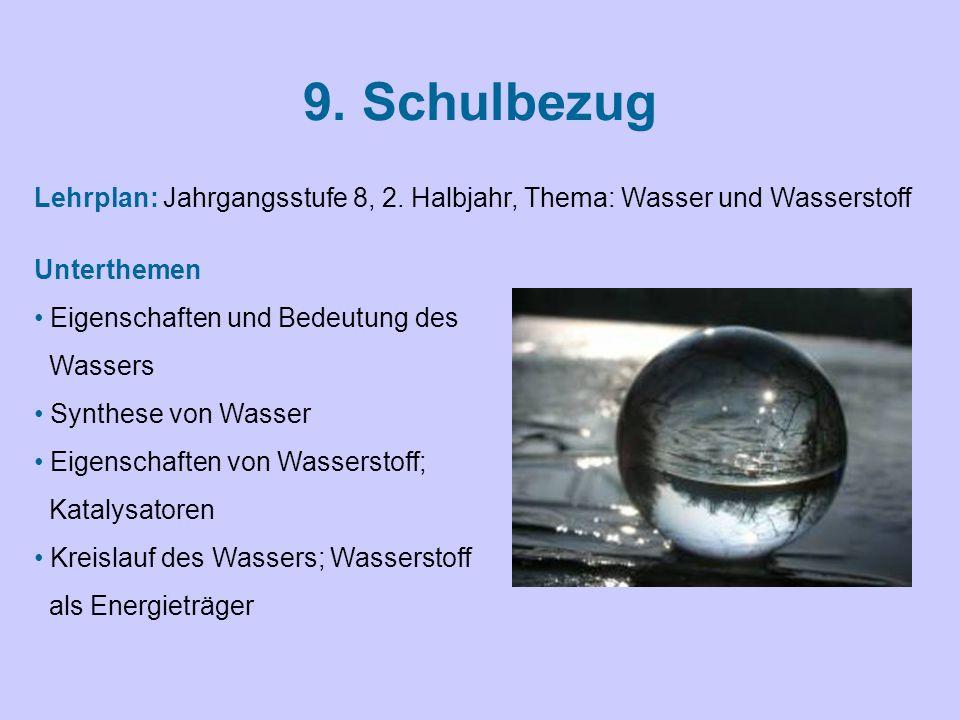 9. Schulbezug Lehrplan: Jahrgangsstufe 8, 2. Halbjahr, Thema: Wasser und Wasserstoff. Unterthemen.