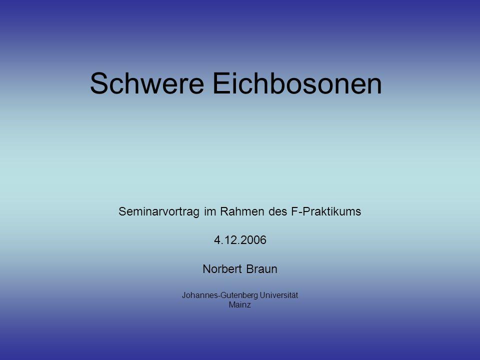 Schwere Eichbosonen Seminarvortrag im Rahmen des F-Praktikums