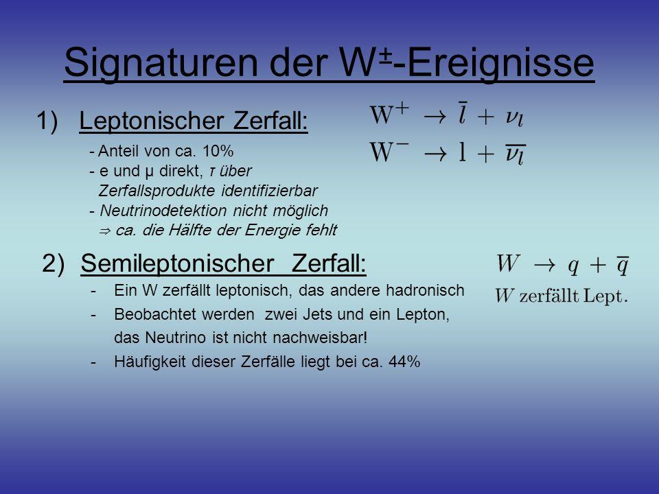 Signaturen der W±-Ereignisse