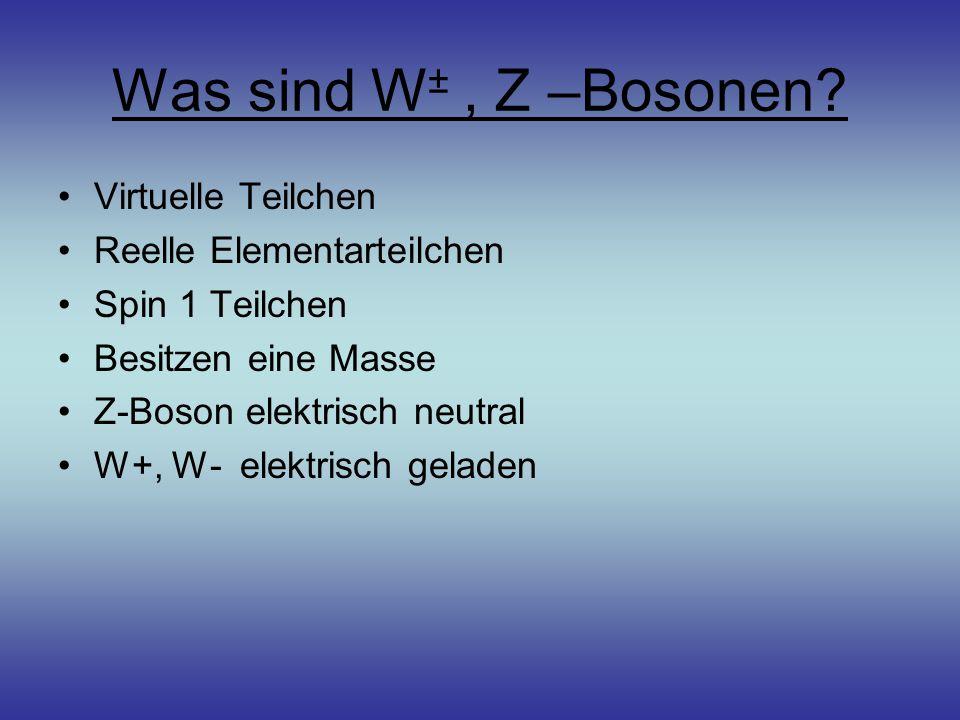 Was sind W± , Z –Bosonen Virtuelle Teilchen Reelle Elementarteilchen