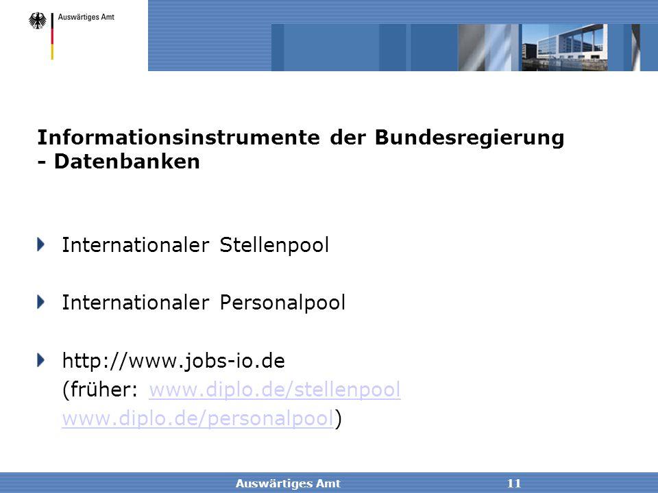 Informationsinstrumente der Bundesregierung - Datenbanken