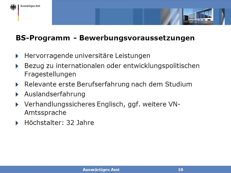 BS-Programm - Bewerbungsvoraussetzungen